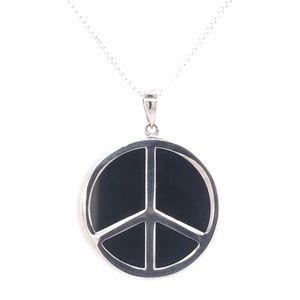 Jewelry - Round Black And White Peace Sign Pendant